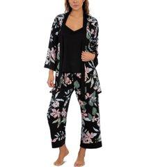 linea donatella floral-print wrap robe, cami & capri pajama set