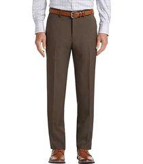 haggar men's premium comfort brown 4-way stretch slim fit dress pants - size: 32w x 29l