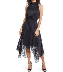 women's sam edelman tonal stripe shark bite hem halter dress, size 8 - black