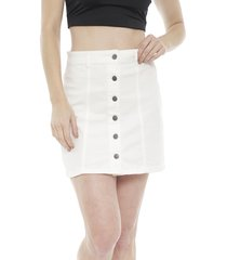 falda jacqueline de yong five denim blanco - calce regular