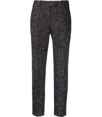 ermanno scervino slim fit tweed trousers - black