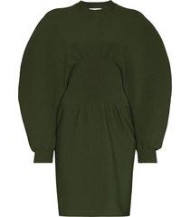 puff-sleeve knit mini dress