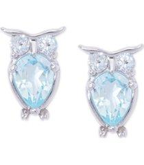 aqua topaz owl stud earrings (2-3/8 ct. t.w.) in sterling silver