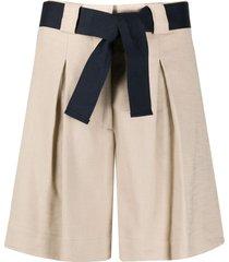 eleventy belted bermuda shorts - neutrals