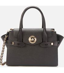 michael michael kors women's carmen small flap belted satchel - black