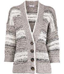 brunello cucinelli chunky knit cardigan - white