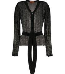 missoni v-neck belted cardigan - black