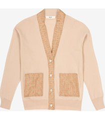 cardigan with silk details beige 40