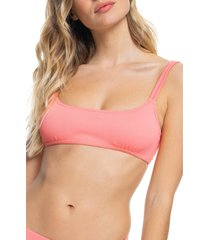 roxy mind of freedom ribbed bralette bikini top, size medium in shell pink at nordstrom