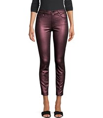 metallic ankle skinny jeans