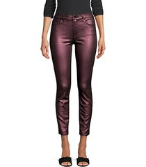 metallic mid-rise ankle skinny jeans