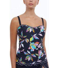 profile by gottex monaco printed d-cup tankini top women's swimsuit
