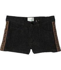 fendi black stretch cotton denim shorts
