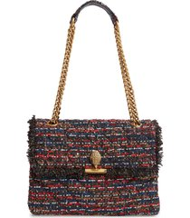 kurt geiger london large kensington tweed shoulder bag - red