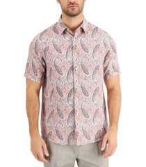 tasso elba men's linen rogio paisley shirt, created for macy's