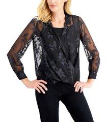 alfani faux-wrap burnout-detail blouse, created for macy's