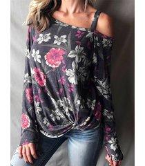 yoins estampado floral al azar gris oscuro one camiseta de manga larga con hombros