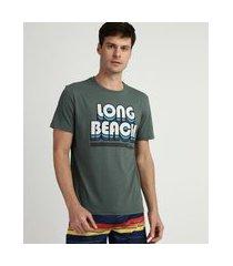 "camiseta masculina long beach"" manga curta gola careca verde"""