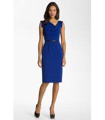 women's black halo 'jackie' belted gabardine sheath dress, size 6 - blue