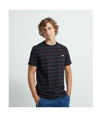 camiseta manga curta listrada com etiqueta estampada em lettering | blue steel | preto | pp