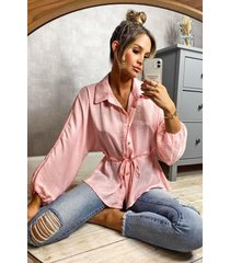 hammered satin ruched waist blouse, rose