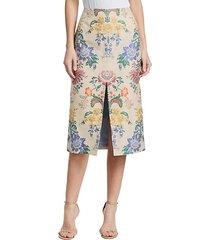 silk floral pencil skirt