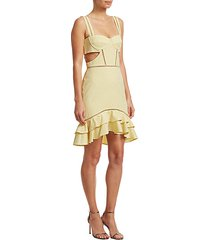 seersucker gingham cutout mini dress