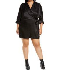 plus size women's river island tie front playsuit, size 14 us - black
