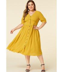 yoins plus talla amarillo escote en v botones delanteros medias mangas vestido