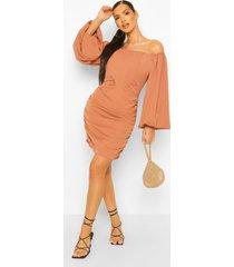 geplooide mini jurk met korset detail en open schouders, camel
