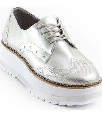 calzado casual oxford mujer 522alejaplata