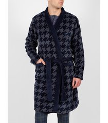 pyjama's / nachthemden admas for men badjas houndstooth blauw admas
