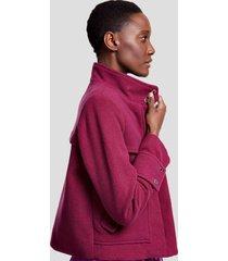 jaqueta de lã com bolsos e recorte color roxo uva light - 36