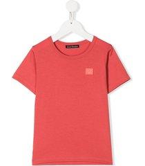 acne studios mini nash face-motif t-shirt - pink
