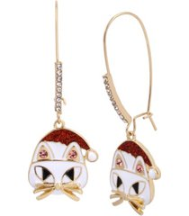 betsey johnson festive cat dangle earrings