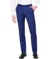 hugo men's modern-fit bold blue solid suit pants