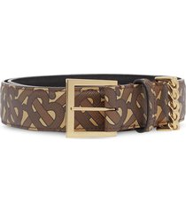 burberry chain detail monogram print belt - brown