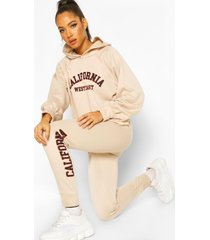 california west coast crop hoodie tracksuit, ecru