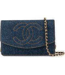 chanel pre-owned chain denim shoulder wallet bag - blue