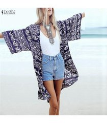zanzea blusa de las mujeres de la impresión floral tamaño 3/4 de la manga floja ocasional de boho beach kimono larga chaqueta de punto blusas blusas plus femininas -azul