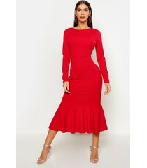 fishtail long sleeve midaxi dress, red
