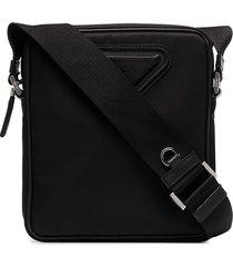 prada triangle-logo messenger bag - black