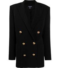 balmain double-breasted wide-shoulder blazer - black