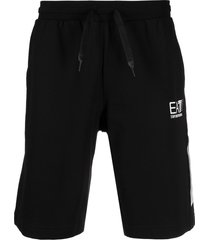 ea7 emporio armani cotton drawstring bermuda shorts - black