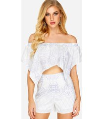 vintage pattern off-shoulder scallop hem top & highwaisted shorts co-ord