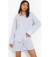 tall geweven pyjama blouse met krijtstrepen en shorts, blue