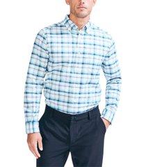 nautica men's classic fit oxford button-down plaid shirt