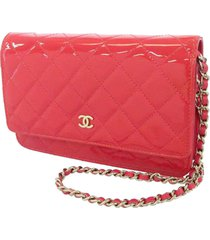 chanel cc timeless patent leather wallet on chain pink sz: