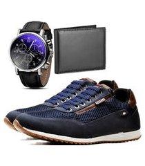 sapatênis casual com carteira e relógio dubuy 1100la azul