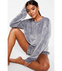 velours shorts en sweater lounge set, dark grey
